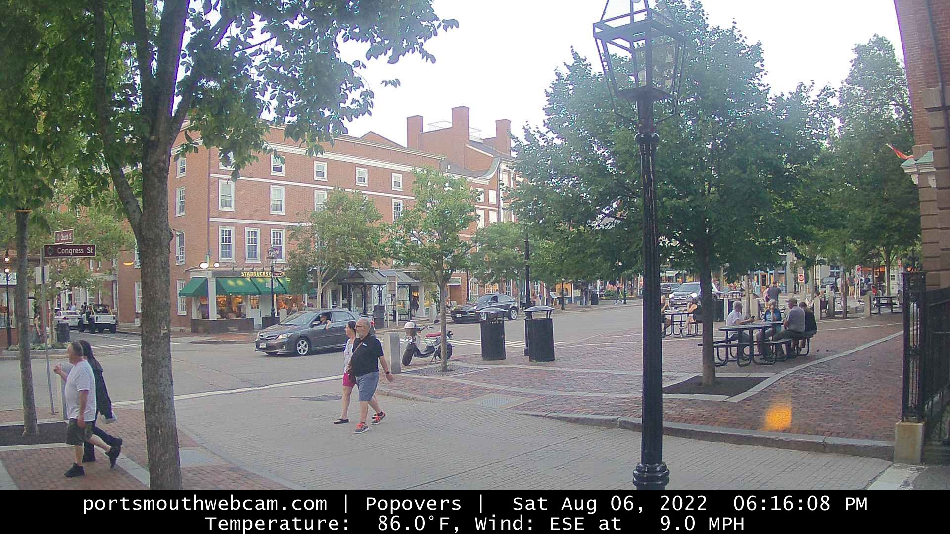 USA Portsmouth Pedestrians and traffic in Market Square live camera